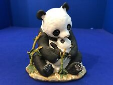 Homco Masterpiece Porcelain Animal Figurine Mother w Baby Panda Bear Bamboo