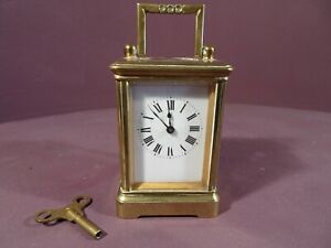 SMALL BRASS CARRIAGE CLOCK WITH KEY, BROKEN SPRING
