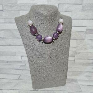 M&S Statement Necklace Silvertone Chain Purple Plastic Beads Costume Jewellery