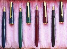 "PARKER ""SLIMFOLD""  SET of  4 FOUNTAIN PENS   in RED; BLACK; BLUE; GREEN! RARE  !"