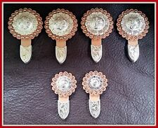 """Saddle Set > 4 - 1 1/2"""" & 2 - 1"""" Hand Engraved Silver Conchos w/Rosettes & Tips"""
