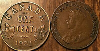 1921 CANADA SMALL 1 CENT COIN PENNY VG TO F BUY 1 OR MORE ITS FREE SHIPPING!