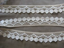9 1/2 YDS TWO TONE GORGEOUS VINTAGE ECRU SWISS COTTON CLUNY LACE TRIM.