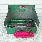 Vintage Coleman 425E Two Burner Green Metal Camping Stove WORKS or PARTS 1973