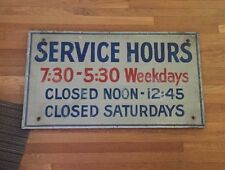 Service Hours Sign Aluminum & Wood From Old Cleveland Ohio Dealership