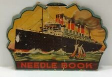 Vintage 1930's Needle Book Broadway Lights Germany Ship Airplanes Boats Pc