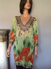 Tunic  Women S Summer Designer Fashion Floral Peacock Beaded Hip Stylish India