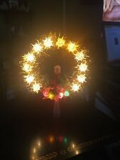Vintage Christmas Gold Tinsel & Candle Tree Topper 18 light Bradford Novelty Co.