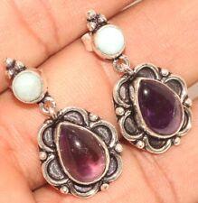 "Earrings 1.2"" Unique Jewelry Gw Amethyst Larimar 925 Sterling Silver Plated"
