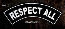 RESPECT ALL PATCH TOP ROCKER FOR BIKER MOTORCYCLE JACKET VEST LARGE NEW