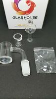 Glass 25mm slitted cup Male 14mm 90  Degree Flat top,2 beads,Quartz