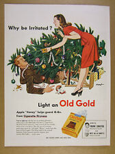 1945 Old Gold Cigarettes soldier wife christmas tree art vintage print Ad
