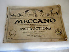 2 Ancienne notices catalogue jouet de construction MECCANO