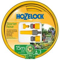 Hozelock 15m Starter Garden Hose Pipe Maxi Plus 12.5mm with Fittings & Nozzle