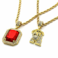 """Men 14k Gold Plated 2 pcs set Red Ruby & Jesus Pendant, 4mm 30"""" & 24"""" Rope chain"""