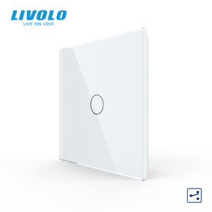 LIVOLO Touch Sensor LED Light Wall Switch 1Gang 2Way Tempered Glass Panel White