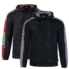 Men's Lightweight Windbreaker Checkered Pattern Outdoor Athelete Hooded Jacket