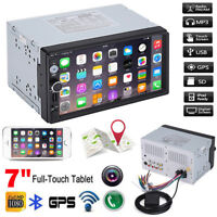 Car 2 DIN 7'' GPS FM MP5 MP3 USB AUX Player Bluetooth Touch Screen Stereo Radio