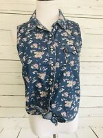 Levi's Medium Women's Top Snap Button Floral Tie Bottom Front Sleeveless
