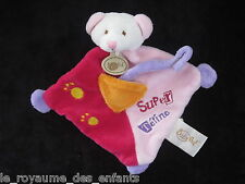 Doudou Ours attache Super Tétine Babynat' Baby Nat rose