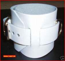 2 starke weisse Leder Armbänder breit 26,5 x 6,5 cm + Metallring Nieten v LWPH