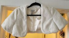 IVORY SHOULDER LENGTH SLEEVE FAUX FUR JACKET SHRUG BOLERO IVORY Cache