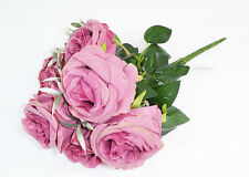 BUSCH ROSE X 7 FIORI ROSA ANTICO ARTIFICIALI MAZZI PER ADDOBBI CERIMONIA WEDDING