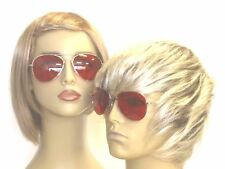 Sunglasses Red Lens Glasses Costume 70s Mens Womens Silver Frame Blood Red New