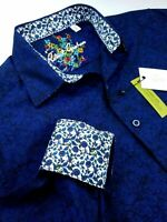 Robert Graham Geometric Floral Print Blue Black Jacquard Sport Shirt Medium