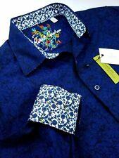 Robert Graham Geometric Floral Print Blue Black Jacquard Sport Shirt Medium