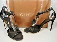 Gucci Black Suede Mink Tassels Ankle Strap Sandals Heels Pumps 39/9 Authentic