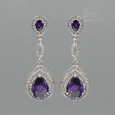 Rhodium Plated Purple Crystal Rhinestone CZ Wedding Drop Dangle Earrings 624 New