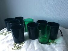 Empty Small Glass Candle Holders Set of 9 Votive Tealight Green Black Glass Cups