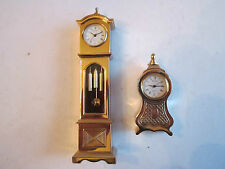 2 BULOVA MINIATURE CLOCKS - GRANDFATHER & SMALLER CLOCK - NOT WORKING - TUB BBA