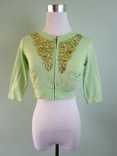 Womens Green Cotton Petite Jewel Embellish Crop Short Jacket Cape sz 8/10 S I14
