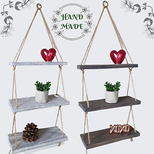 Rustic Shabby Chic Handmade Rope Shelves Wooden Natural Floating Hanging 3 Tier