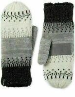 ISOTONER Signature Women's Lined Acrylic Knit Mittens One Size Ivory Gray Black