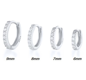Echtes 925 Sterling Silber Creolen mit Zirkonia Steinen besetzt Ohrringe Schmuck