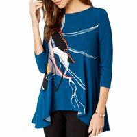 ALFANI NEW Women's Printed Swing Blouse Shirt Top TEDO