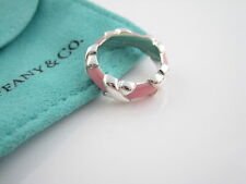 Tiffany & Co Signature X Silver & Pink Enamel Wide Stacking Band Ring Size 6