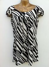 NWOT LAURA ASHLEY Black & Cream Mini Tunic Dress Size 12 Short Cap Sleeved