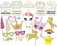 NEW! 26PCS Glitter Unicorn Photo Booth Props Girl Birthday Party Decor Supplies