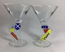 Two Luminarc France Modern Art Stem Cocktail Martini Glasses Blue Yellow Red