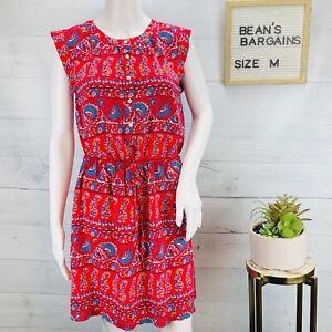 Ann Taylor LOFT Womens Shirt Dress Blue Red Paisley Sleeveless Rayon Size M