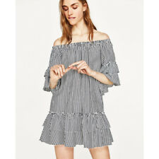 7aee62380ec Zara Discontinued Elasticated off The Shoulder Striped Mini Dress With Frill