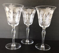 Vintage Morgantown Mayfair Etched Crystal Elegant Glass Water Goblets Set Of 3