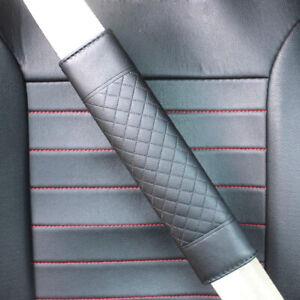 2pcs Auto Car Truck Safety Belt Covers PU Leather Seat Belt Shoulder Pad Black