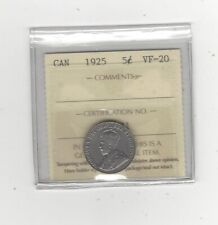 1925 , ICCS Graded Canadian,  5 Cent, **VF-20**