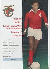 EUSEBIO BENFICA 1960-1975 RARE ORIGINAL HAND SIGNED MAGAZINE PICTURE
