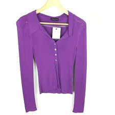 Karen Millen Cardigan Size (1) 8 36 Stretch Skinny Rib Purple Long Sleeve